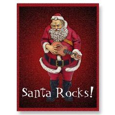 Santa Rocks Christmas Postcard from www.zazzle.com/stevebrownleeart