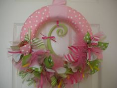 Baby girl ribbon wreath for shower, hospital door etc...
