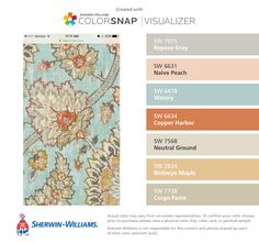 I found these colors with ColorSnap® Visualizer for iPhone by Sherwin-Williams: Repose Gray (SW 7015), Naive Peach (SW 6631), Watery (SW 6478), Copper Harbor (SW 6634), Neutral Ground (SW 7568), Birdseye Maple (SW 2834), Cargo Pants (SW 7738).