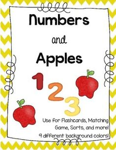 Number Flashcards with Apples! Great for Fall Math Centers! Play Memory or Go Fish with these cute cards! $ at TpT