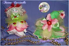 """FATINA COCCINELLA - CAPPELLINO ROSSELLA Due mie creazioni dal profumo di primavera Mi trovi su FACEBOOK: """"Le Bambole di Moira Solena"""" https://www.facebook.com/LeBamboleDiMoiraSolena/"""