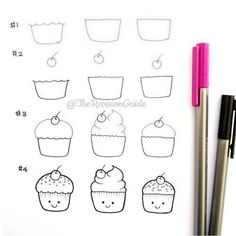 More doodle how tos can be found at ? More doodle how tos can be found at ? I want cupcakes ☺ . Kawaii Drawings, Doodle Drawings, Easy Drawings, Doodle Art, How To Doodle, Kawaii Doodles, Cute Doodles, Doodle Inspiration, Bullet Journal Inspiration