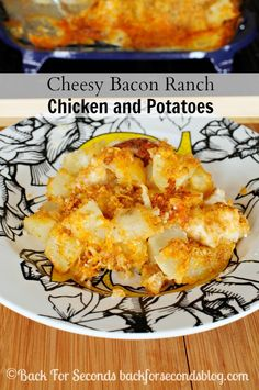 Cheesy Bacon Ranch Chicken and Potatoes Fresh Take  Used ritz, cheese, and bacon in place of the fresh take, also bake longer for crisper casserole- amazing with hot sauce!!