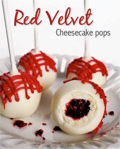 These Red Velvet Cheesecake Pops are a bite size version of the Ultimate Red Velvet Cheesecake. What could be more precious than a ball of cheesecake covered in red velvet cake? So to me, these pops are the perfect treat of two amazing things covered in white chocolate.