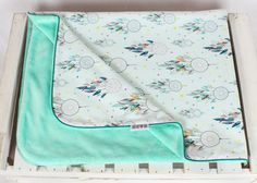 Minky Baby Blanket for Girl and Boy dream catcher mint  by NuvaArt