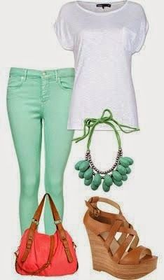 teal capris/ white top/turqoise necklace/brown shoe and red or orange purse.