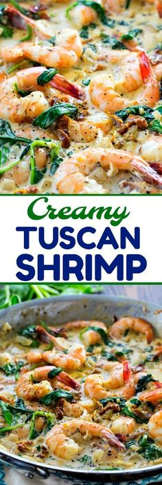 Shrimp Creamy Tuscan Shrimp with sun-dried tomatoes and spinach in a creamy garlic Parmesan sauce.Creamy Tuscan Shrimp with sun-dried tomatoes and spinach in a creamy garlic Parmesan sauce. Fish Recipes, Seafood Recipes, Pasta Recipes, Cooking Recipes, Dinner Recipes, Recipies, Appetizers For A Crowd, Seafood Appetizers, Cheese Appetizers