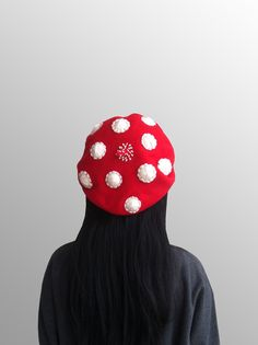 Red Mushroom Beret Woolen Hat with Embroidery details. $89.00, via Etsy.