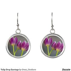 Tulip Drop Earrings three tulip drop, tulip drop, tulip, three, flower, flowers, floral, flora, botanical