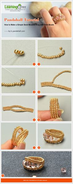 Pandahall Tutorial - How to create a simple seed pearl ring with ., Pandahall Tutorial - How to create a simple seed pearl ring with pink pearls , , Seed Bead Tutorials, Jewelry Making Tutorials, Beading Tutorials, Beading Ideas, Beaded Jewelry Patterns, Bracelet Patterns, Beading Patterns, Bead Jewellery, Wire Jewelry