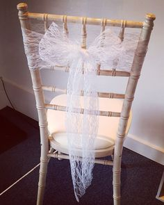 Finish a chiavari style chair, with a touch of bright white lace! Make a stunning ceremony & reception finish! Pew Ends, White Lace, It Is Finished, Dining Chairs, Range, Reception, Dinning Chairs, Dining Chair, Stove