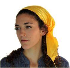 Tichel Scarves Head Wrap Hair Covering Jewish Headcovering Bandana Yellow Satin