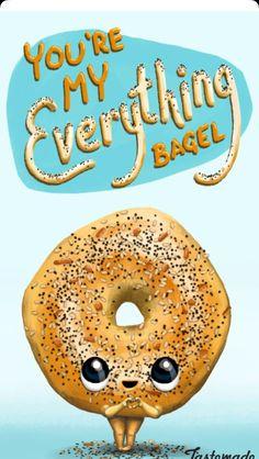 My everything bagel cute puns, corny puns, cheesy puns, funny love Funny Food Memes, Food Humor, Funny Quotes, Funny Humor, Corny Puns, Cheesy Puns, Love Puns, Funny Love, Food Cartoon