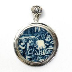 Broken China Jewelry Currier and Ives Children at the Gate Blue Transferware Sterling Circle Pendant