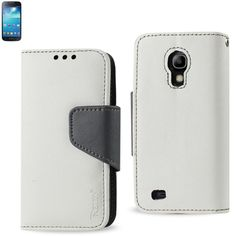 Reiko Wallet Case 3 In 1 For Samsung Galaxy S4 Mini White With Black Interior Polymer