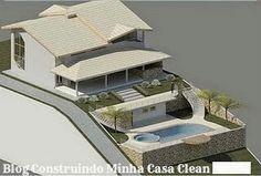 Casa aclive com piscina