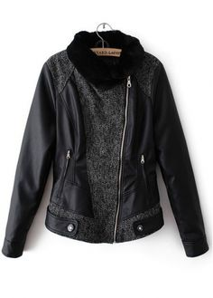 Vogue Patchwork Side Zip Design Black PU Jackets for Lady on sale only US$26.44 now, buy cheap Vogue Patchwork Side Zip Design Black PU Jackets for Lady at martofchina.com