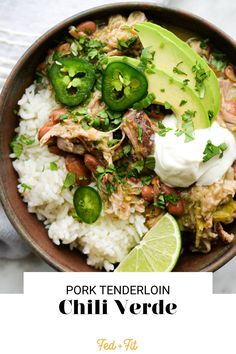 This gluten free pork chili verde (served over rice and garnished with ALL of the good things!) is bold, creamy, and really delicious! Chili Verde Recipe, Fed And Fit, Real Food Recipes, Healthy Recipes, Cooking White Rice, Slow Cooker Chili, Frozen Meals, Crockpot Recipes, Pork Recipes