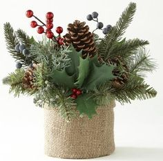 Holly Arrangement in Burlap Pot - Holiday - Christmas Tablescapes, Christmas Centerpieces, Christmas Decorations, Christmas Ornaments, Christmas Mood, Country Christmas, All Things Christmas, Christmas Floral Arrangements, Flower Arrangements