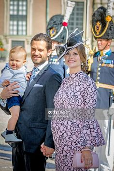 Prince Carl Philip of Sweden, Princess Sofia of Sweden and Prince Alexander of Sweden arrive for a thanksgiving service on the occasion of The Crown Princess Victoria of Sweden's 40th birthday celebrations at the Royal Palace on July 14, 2017 in Stockholm, Sweden. (Photo by Patrick van Katwijk/Getty Images)