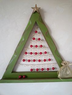 Advent Calendar Christmas Tree Frame with Red by milliemoments, $42.00