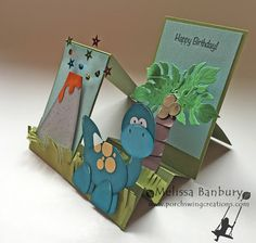 Dino Punch Art Side Step Card by melissabanbury - Cards and Paper Crafts at Splitcoaststampers Boy Cards, Kids Cards, Fun Fold Cards, Folded Cards, Kids Punch, Side Step Card, Stepper Cards, Dinosaur Cards, Punch Art Cards