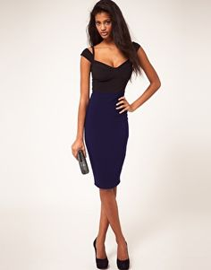 ASOS Sexy Pencil Dress With Sweetheart Neckline Knee length Black and Navy