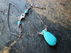 Turquoise Necklace Turquoise Pendant Stainless Steel Chain Reiki Chakra Necklace
