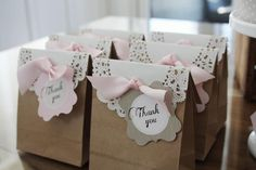Brown paper bags with a doilie how simple and adorable