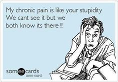 My chronic pain is like your stupidity. We can't see it but we both know it's there!