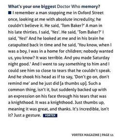 ❥•.¸ᶫᵒᵛᵉ ĐØĆŦტŘ ŴĦظ.•'[idk]'•.¸*[]*  .♥♥. . .. Tom Baker's Response .. .