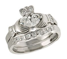 Claddagh Celtic engagement or wedding ring. I just love this design, though. This is a husband and wife ring set. Diamond Claddagh Ring, Claddagh Engagement Ring, Cute Engagement Rings, Claddagh Rings, Designer Engagement Rings, Diamond Rings, Wedding Engagement, Celtic Rings, Diamond Heart