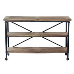 Solid mango wood and metal console table on castors W 130cm