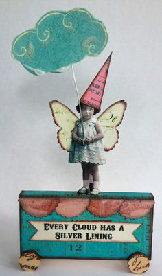 Fairy Silver Lining Cloud Handmade Pull Toy Mixed Media Altered Art Collage OOAK | eBay