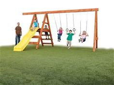 DIY swing set for home designing and decorating can be made into simple custom styles by applying about best ideas and plans about hardware kits as well as accessories Swing Set Kits, Swing Sets For Kids, Backyard Projects, Outdoor Projects, Backyard Ideas, Diy Projects, Swing Set Hardware, Playgrounds For Sale, Diy Swing