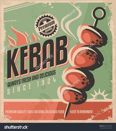 Kebab Retro Poster Design Concept. Promotional Ad Design For ...