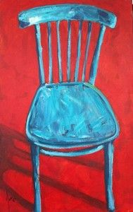 """""""Turquoise Chair with Red Background"""""""