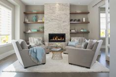 Choosing interior paint colors for your home can be simple. Get 15 easy tips for picking the best paint colors for your interior color scheme.: Choosing Interior Paint Colors is Easier Than You Think Fireplace Built Ins, Home Fireplace, Fireplace Remodel, Living Room With Fireplace, Fireplace Design, Fireplace Ideas, Fireplace Shelves, Fireplaces, Living Room Area Rugs