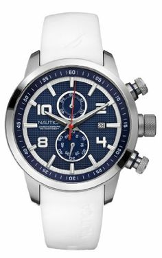 f377d3e9833 Nautica Men s N17582G NCT 400 White Resin and Blue Dial Watch NAUTICA.   175.00. Chronograph