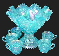 Punch Sets - Part 3 Fenton Glassware, Crystal Glassware, Antique Glassware, Blue Glass Bottles, My Glass, Pyrex Display, Punch Bowl Set, Glass Canisters, Vintage Bowls