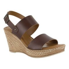 Bella Vita Women's Cor-Italy Wedge Sandal, Size: 6.5, Brown Italian Leather