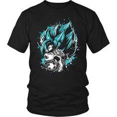 Super Saiyan - SSJ God Blue Skull - Men Short Sleeve T Shirt - TL00842SS