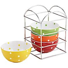 polka dot bowl set