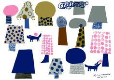 bright and cheerful illustration :: Naoko Horiguchi Art And Illustration, Pattern Illustration, Graphic Design Illustration, Textures Patterns, Print Patterns, Pattern Art, Pattern Design, Peony Drawing, Wow Art