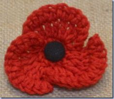 The Sunroom's Crochet Remembrance Poppy A small amount of red wool is required, here I used a double knitting cotton mix and a crochet hook. I also used a small fabric covered black bu… Crochet Poppy Pattern, Crochet Flower Patterns, Crochet Motif, Knitting Patterns Free, Cute Crochet, Crochet Hooks, Knit Crochet, Free Pattern, Autumn Crochet
