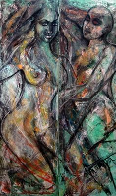 Dolna code: ANB007 Eve and Adam by Ananya Banerjee. Mixed media on canvas, 60 x 30(inches) Price INR 1,12,500 Browse www.dolna.in for works of the Artist and more