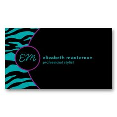 Zebra Retro Chic Monogram Business Cards