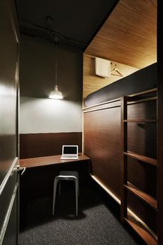 Tiny Apartments, Tiny Spaces, Small Rooms, Home Office Design, House Design, Student Bedroom, Sleeping Pods, Capsule Hotel, Boarding House