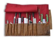 RED CANVAS AND LEATHER KNIFE ROLL