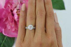 1.5 ctw Round Halo Ring Gatsby Wedding Set Man by TigerGemstones